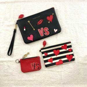 Victoria Secret Valentine Cosmetic Bag Clutch Set